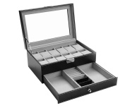 Felji Leather 12 Mens Watch Box with Jewellery Display Drawer Lockable Watch Case Organiser