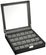 Felji 24 Watch Box XL Single Level Black Leather Large Compartments High Clearance Glass Window