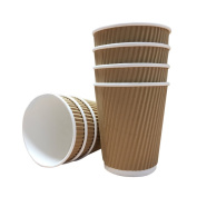 100 X 12oz / 360ml Kraft triple walled disposable paper ripple cups by Halma