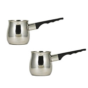 (Pack of 2) 350ml (Ounce) Turkish Coffee Decanter, Espresso Decanter, 18/8 Stainless Steel, Barista Coffee Decanter Pitcher