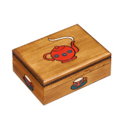 Wooden Tea Box With Teapot and Tea Cups Design Hand Painted