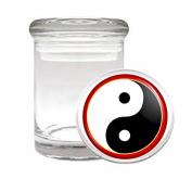 Medical Glass Stash Jar Ying & Yang S3 Air Tight Lid 7.6cm x 5.1cm Small Storage Herbs & Spices Yin Yang