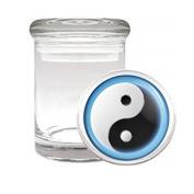 Medical Glass Stash Jar Ying & Yang S2 Air Tight Lid 7.6cm x 5.1cm Small Storage Herbs & Spices Yin Yang