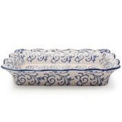 BIA Cordon Bleu Heritage Rectangular Baker with Blue Swirls - 1.9l.