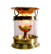 Brass Aromatherapy Oil Burner Hindu Puja Deepak Oil Lamp - Perfume Oil Diffuser with Free Accessories