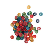 RayLineDo Pack of 100pcs Various Colours 15mm Round Buttons 2 Holes Concave Retro Wooden Buttons for DIY Sewing Crafting