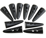 10PCS Black Horn Imitation Tooth Toggle Buttons For Coat Jacket Blazer Sewing