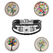 Lovmoment 20MM Glass Art Life Tree and Snap Jewellery Bracelet Charms