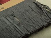 Embossed Black Leather Fringe