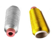 P2P@zita 2PCS Gold & Silver Metallic Machine Embroidery Threads ,Polyester Sewing Thread Spools for Embroidery- 3000 yards