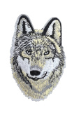 WOLF Iron On Patch Applique Wildlife Animal Husky Dog Motif Fabric Decal 3.6 x 2.4 inches