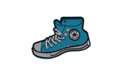 BLUE SNEAKER SHOES Iron On Patch Applique High Top Footwear Motif Children Decal 4.5 x 2.6 inches