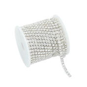 10 Metres Single Row Clear Crystal Rhinestone Close Chain Trim Sewing Craft Silver
