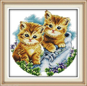 Be together Cat DIY 3D Embroidery Kit Precise Printed Needlework Cross stitch