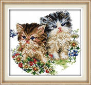 Cat lovers DIY 3D Embroidery Kit Precise Printed Needlework Cross stitch
