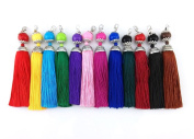 yueton 12pcs Colourful Lobster Clasp Bead Charms Silky Tassels DIY Key Chain Jewellery Accessory