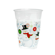 Party Essentials 20 Count Soft Plastic Printed Party Cups, 470ml, Snowman