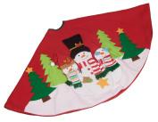 Plush Snowman Christmas Tree Skirt - 100cm - Red and White