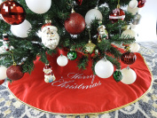110cm Red Non Woven Christmas Tree Skirt Embroidered With Metallic Edge - Silver/Christmas