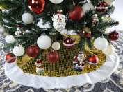 100cm Yellow And Gold With White Trim Christmas Tree Skirt
