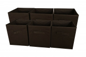 Sodynee® Foldable Cloth Storage Cube Basket Bins Organiser Containers Drawers, 6 Pack, Choclate