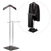 Brown Wood & Metal Suit Valet Floor Stand / Garment Organiser Rack / Coat & Pants Hanger - MyGift®
