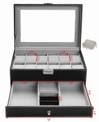 Autoark Leather 12 Watch Box with Jewellery Display Drawer Lockable Watch Case Organiser,Black,AW-001