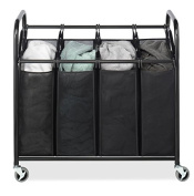 """Whitmor 4-Section Laundry Sorter Cart-Heavy Duty, Durable Metal Frame & Handles – Large Hanging Bags with Plastic Grips, Laundry Room Hamper Organiser with Lockable Caster Wheels – 20 x36 x33"""""""
