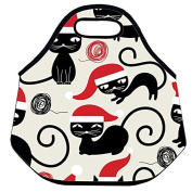 Estrellaw Merry Christmas Lovely Black Cats Lunch Bag