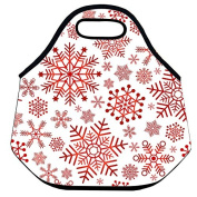 Estrellaw Merry Christmas Holiday Snow Flakes Lunch Bag