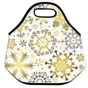 Estrellaw Gold Snowflakes Pattern Lunch Bag
