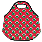 Estrellaw Merry Christmas House Pattern And Red Background Lunch Bag