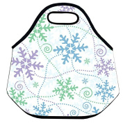 Estrellaw Merry Christmas White Pink Blue Snowflakes Lunch Bag