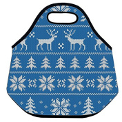 Estrellaw Christmas Winter Sweater Pattern With Reindeer Lunch Bag