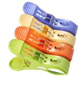 Colourful 4 Pcs Large Size Pegs Plastic Clothes Beach Towel Clips Quilt Clips Towel Wind Clip Hanger Holder