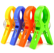 Yonger 4 Pcs Durable Large Beach Towel Clips Plastic Clothespins Clothes Pegs Pins Clothes Hanger Clamp