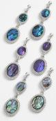 Inlaid Paua Shell Double Drop Stud Earrings ~ 3 Colours ~ 1 Chosen At Random