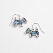 Inlaid Paua Shell Scottie Dog Earrings