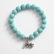 Reconstituted Turquoise Stretch Bracelet With Elephant Charm