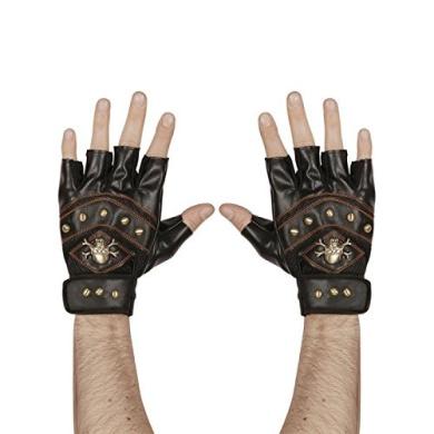 Leatherlook Studded Fingerless Skull & Crossbones Gloves