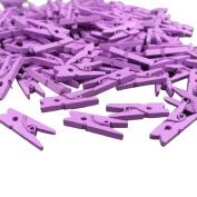 Gilroy Mini Multicolor Wooden Clothespins Photo Paper Peg Pin Craft Clips,100 Pieces - Purple