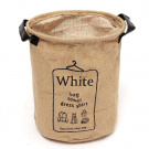 PIXNOR Jute Laundry Basket Hamper Storage Baskets With White Printed