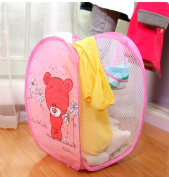 Fashionclubs Cartoon Red Bear Pop up Hamper Foldable Mesh Laundry Basket,Baby Toys Organiser Basket