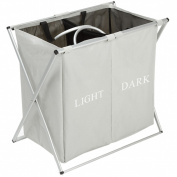 IHOMAGIC Double Sections Light and Dark Laundry Basket X-Frame Large Folding Washing Clothes Storage Bins Hamper