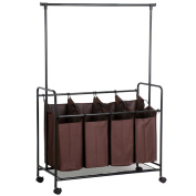 Topeakmart Durable Laundry Hamper Sorter With Hanger Brown Rolling Cart 4 Large Bags Clothing
