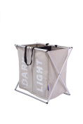 Foldable Oxford Laundry Hamper 2 section Clothes Sorters Basket Organiser
