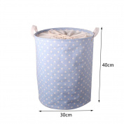 Funbase Collapsible Cotton Linen Household Organiser Laundry Basket Toy Storage with Adjustable Drawstring