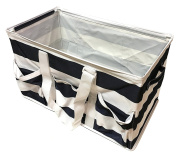 Collapsible Utility Tote Navy Rugby Stripes