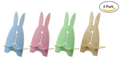 BeeChamp 4pcs Cute Wooden Bunny Cell Phone Stand Adorable Rabbit Memo Holder