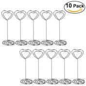PIXNOR 10pcs Heart Shape Place Card Memo Picture Clip for Wedding Party Favour Decor